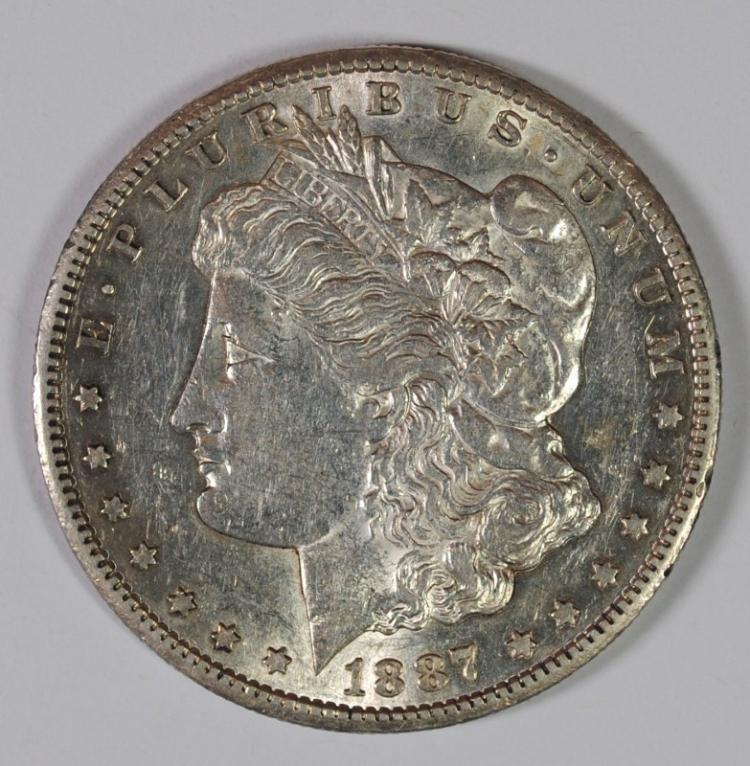 1887-S MORGAN SILVER DOLLAR, AU/BU