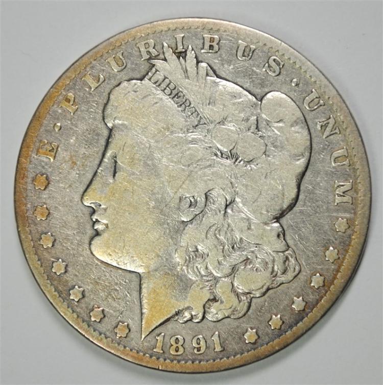1891-CC MORGAN SILVER DOLLAR, VG/FINE