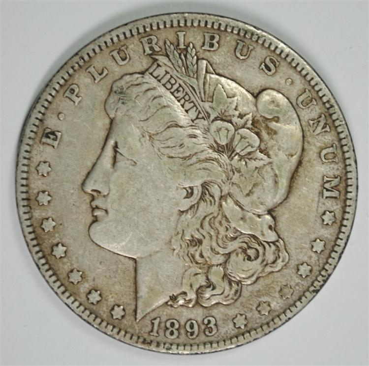 1893 MORGAN SILVER DOLLAR, VF/XF KEY COIN