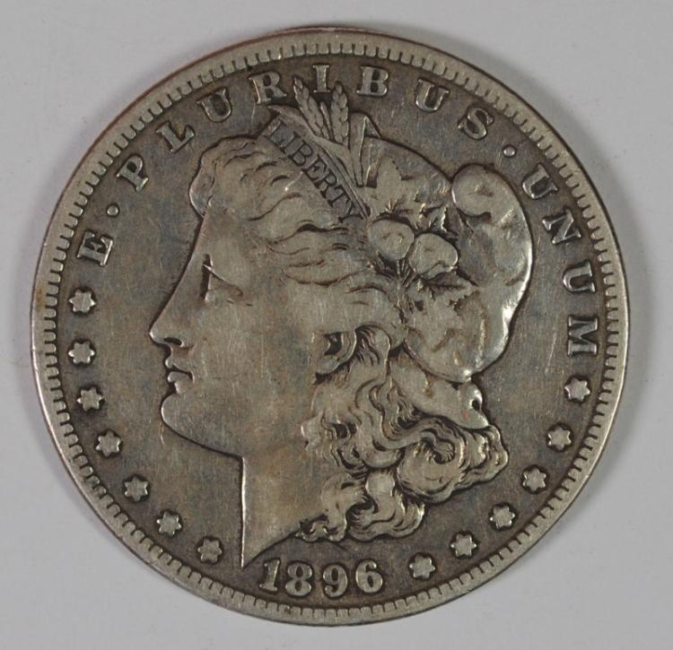 1896-S MORGAN SILVER DOLLAR, FINE  KEY DATE