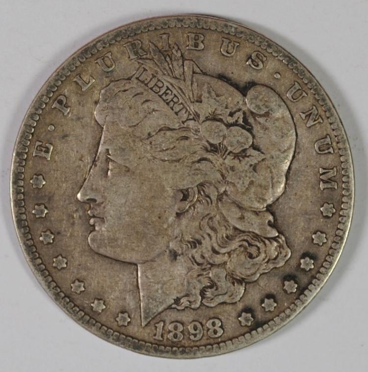 1898-S MORGAN SILVER DOLLAR, FINE  KEY DATE