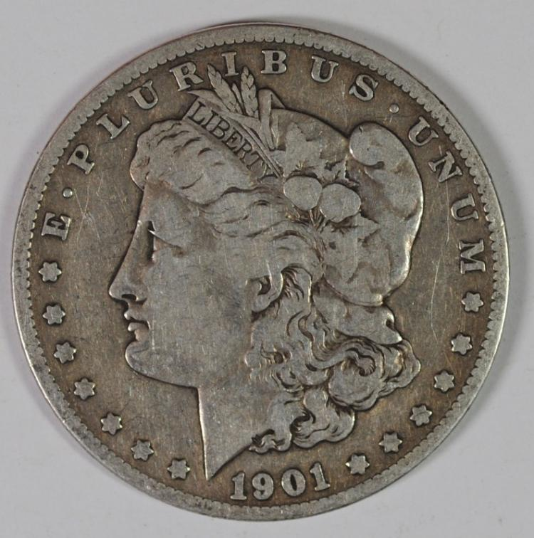 1901-S MORGAN SILVER DOLLAR, FINE KEY DATE