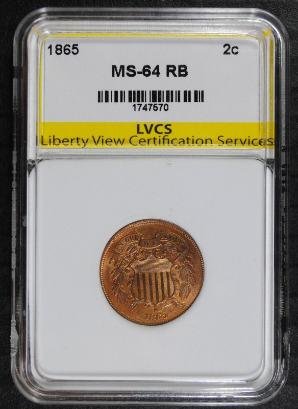 1865 2-CENT PIECE, LVCS CH/GEM BU RB