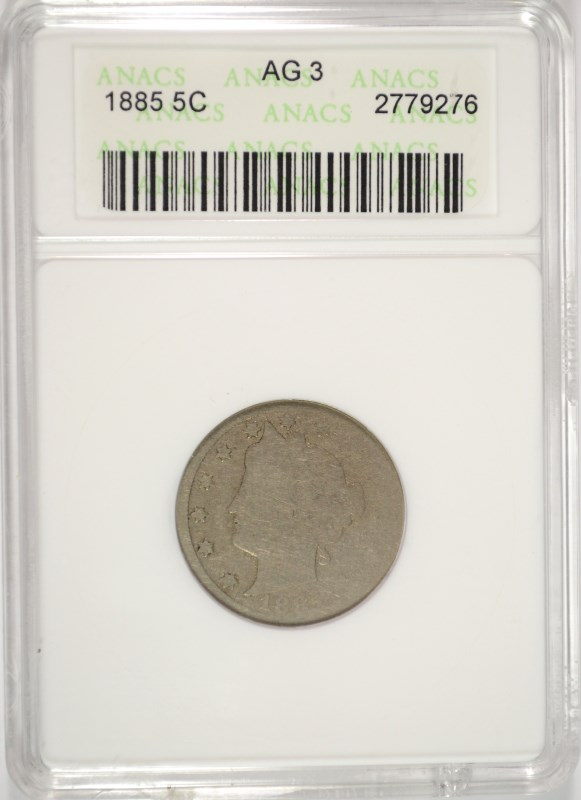 1885 LIBERTY NICKEL, ANACS AG-3 KEY DATE!