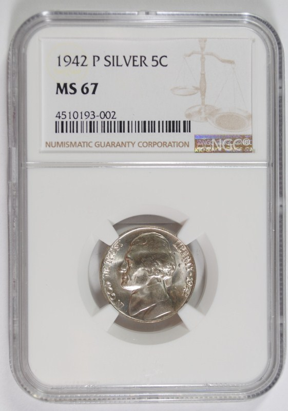 1942-P TYPE-2 JEFFERSON NICKEL, NGC MS-67