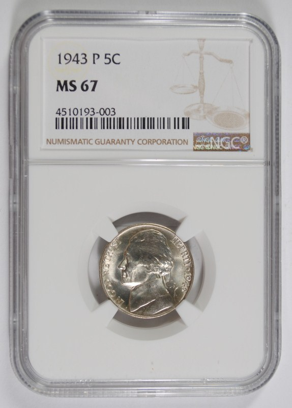 1943-P JEFFERSON NICKEL, NGC MS-67