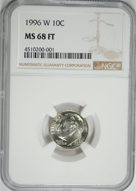 1996-W ROOSEVELT DIME, NGC MS-68 FULL TORCH!! KEY DATE RARE!!!