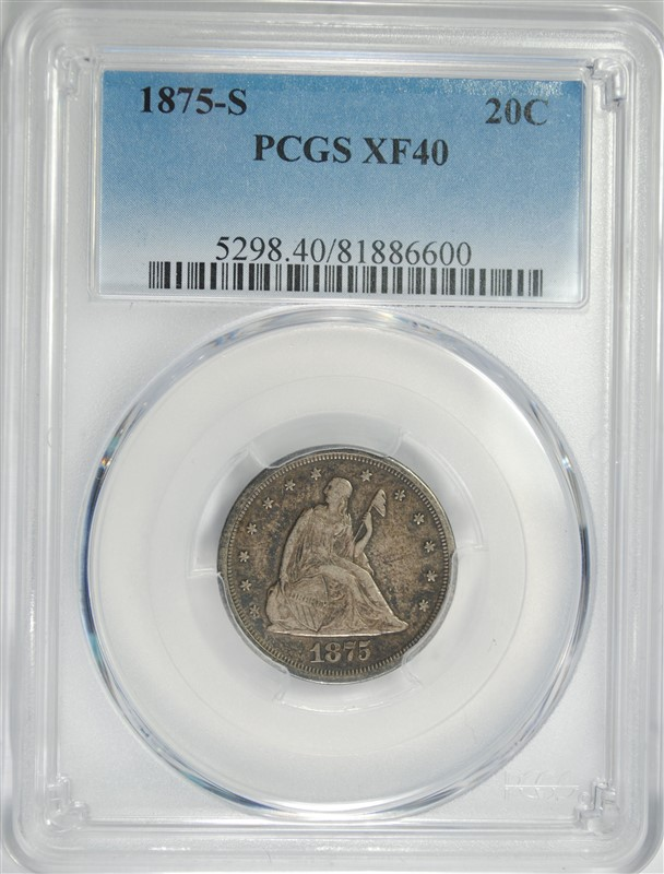 1875-S TWENTY CENT PIECE, PCGS XF-40
