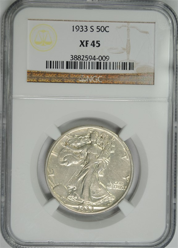 1933-S WALKING LIBERTY HALF DOLLAR, , NGC XF-45