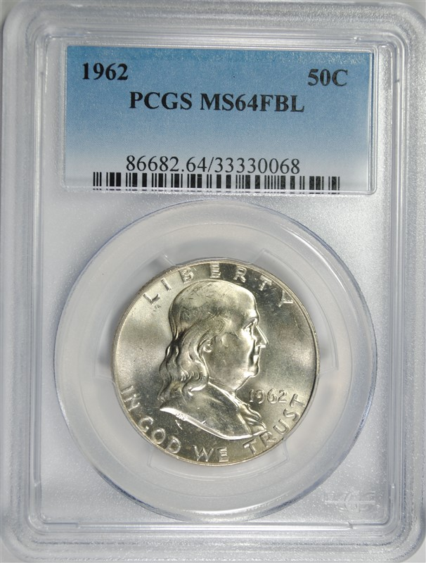 1962 FRANKLIN HALF DOLLAR, PCGS MS-64 FBL RARE!!