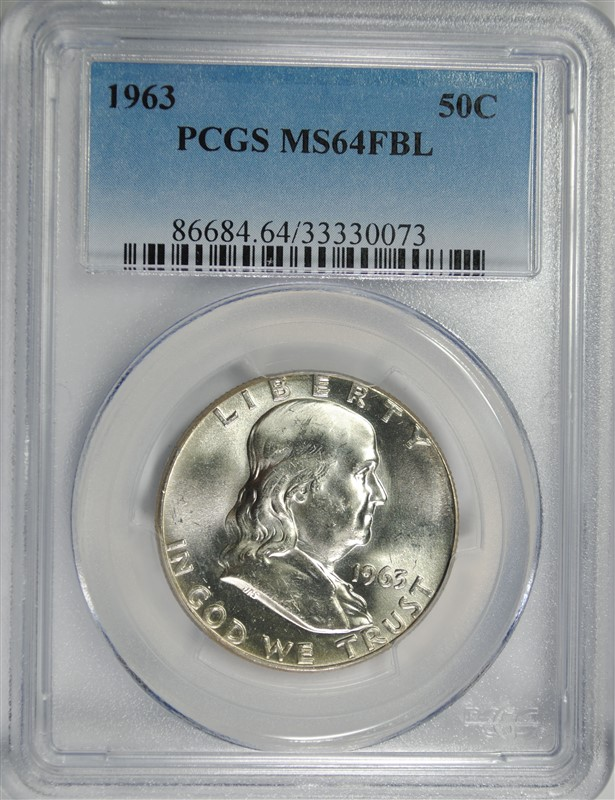 1963 FRANKLIN HALF DOLLAR, PCGS MS-64 FBL RARE!