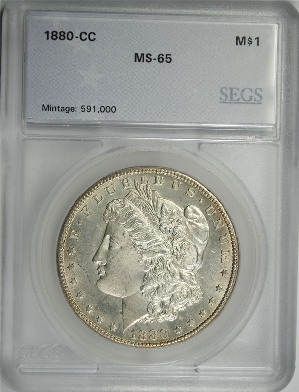 1880-CC MORGAN SILVER DOLLAR, SEGS GRADED GEM BU WHITE