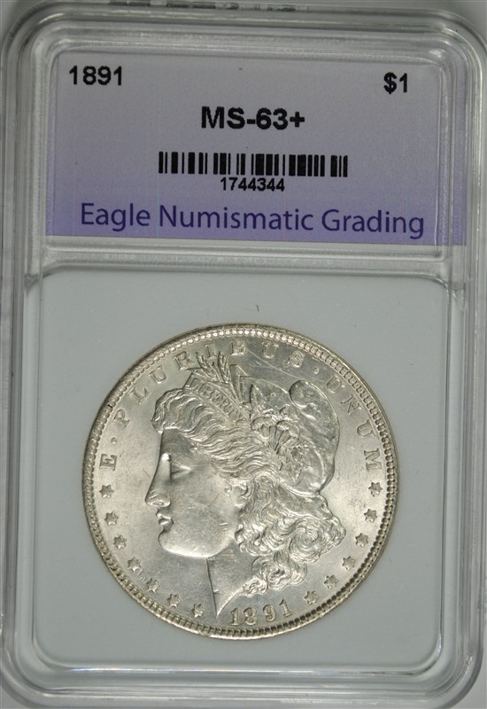 1891 MORGAN SILVER DOLLAR, ENG CHOICE BU+