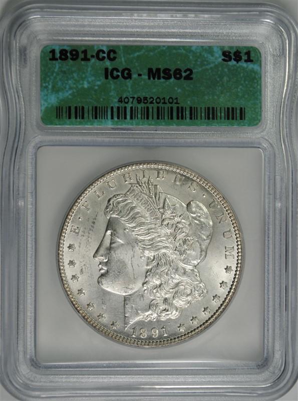 1891-CC MORGAN SILVER DOLLAR, ICG MS-62 WHITE