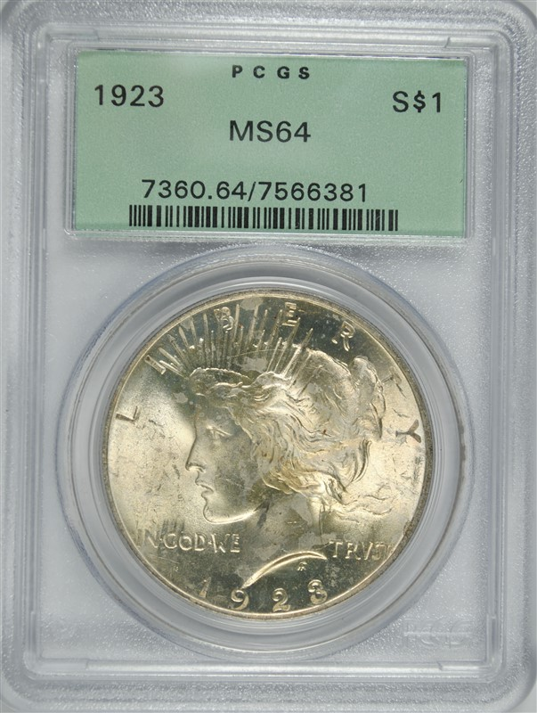 1923 PEACE SILVER DOLLARS, PCGS MS64 OLD GREEN HOLDER