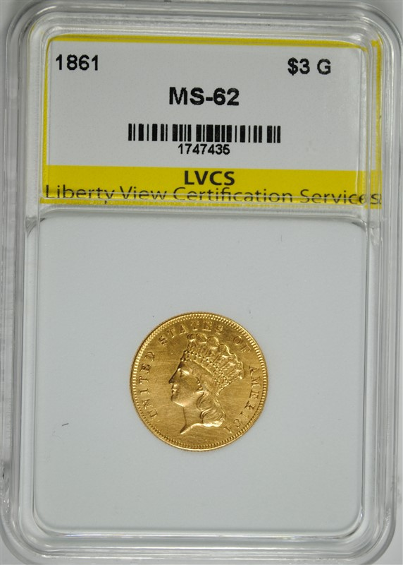 1861 $3.00 INDIAN PRINCESS HEAD GOLD, LVCS CHOICE BU