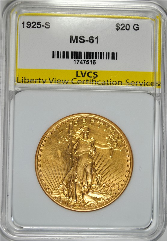 1925-S $20.00 SAINT GAUDENS GOLD, LVCS  CHOICE BU