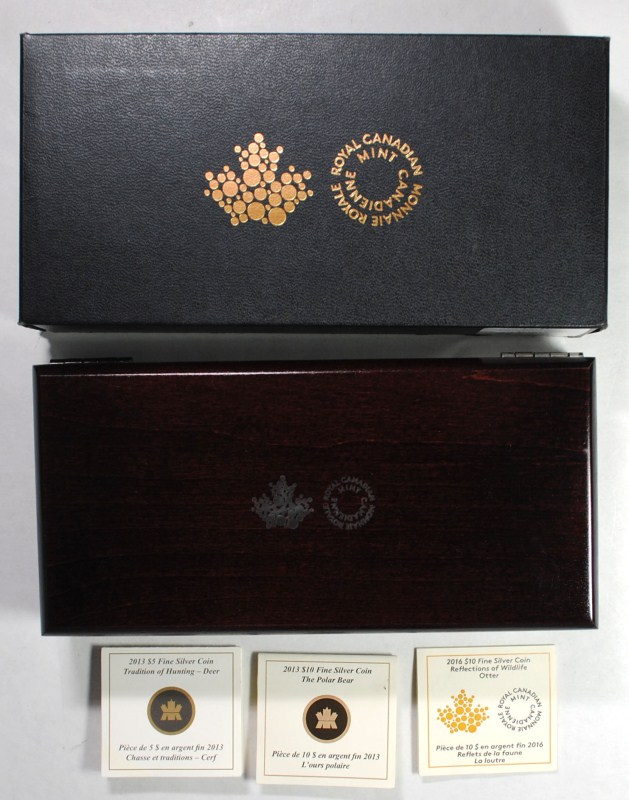 Canada  Reflections of Wildlife 3 Coin  Silver Proof Set in Wood Box
