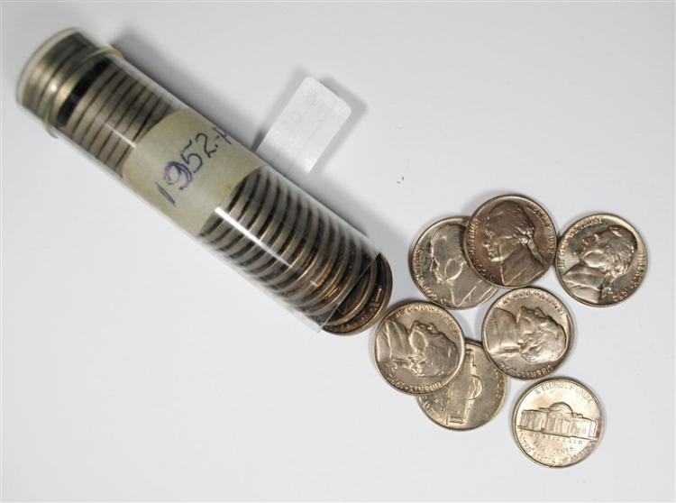 ORIGINAL GEM BU ROLL OF 1952 JEFFERSON NICKELS