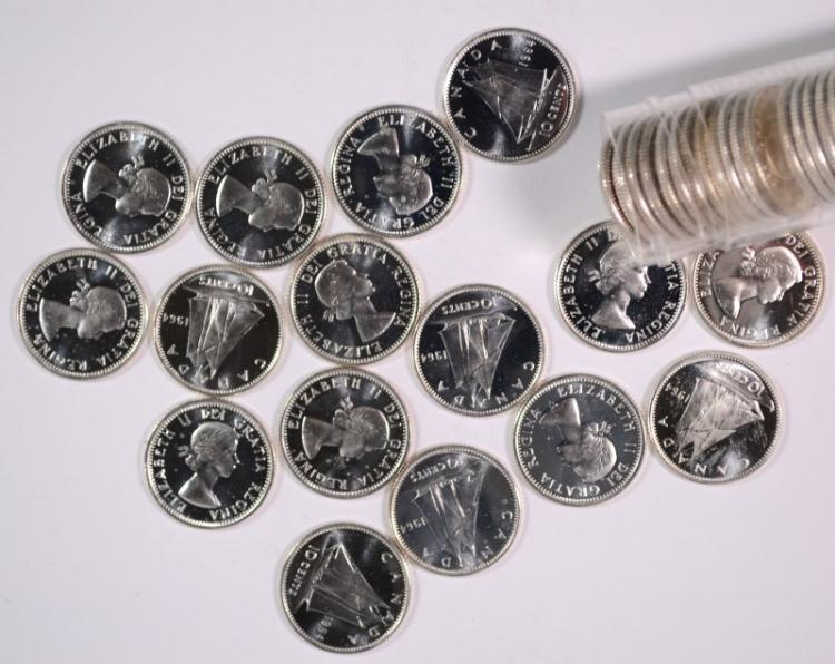 ( 50 ) ONE ROLL OF 1964 CANADA SILVER DIMES, SUPERB GEM BU