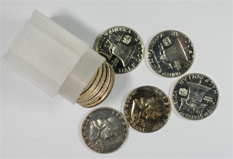 ROLL OF MIXED DATE PROOF FRANKLIN HALF DOLLAR