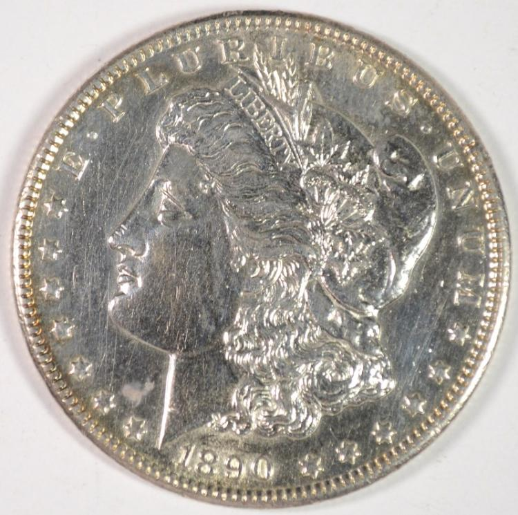 1890-CC MORGAN DOLLAR AU CLEANED