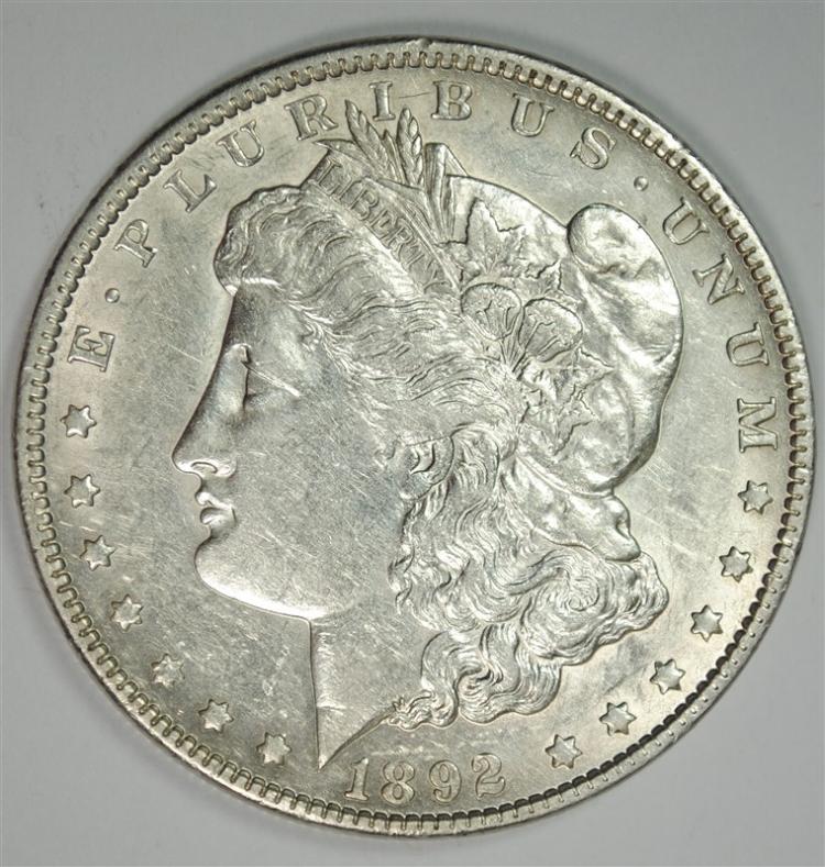 1892 MOIRGAN SILVER DOLLAR, AU