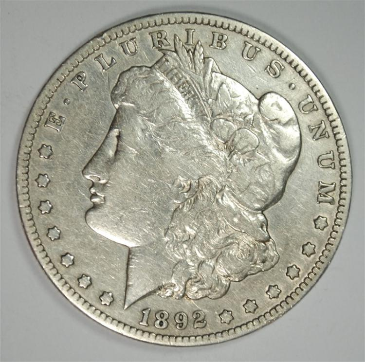 1892-S MORGAN SILVER DOLLAR, F/VF