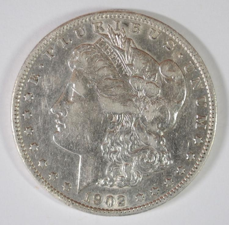 1902-S MORGAN SILVER DOLLAR, XF KEY DATE