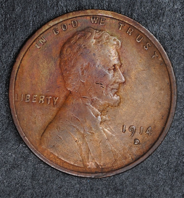 1914-D LINCOLN CENT, VG KEY COIN!