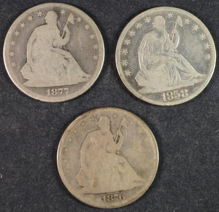 SEATED HALF DOLLARS, 1876 GOOD, 1877 GOOD & 1858-O VG/FINE