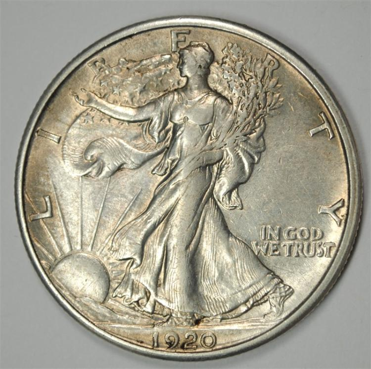 1920-S WALKING LIBERTY HALF AU/BU SCARCE EARLY DATE. VERY CLOSE TO BU