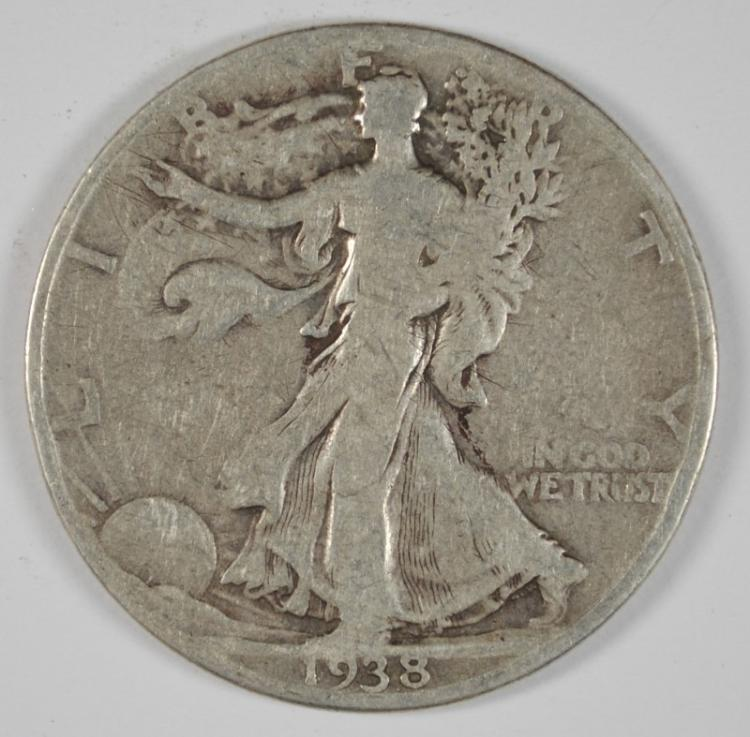 1938-D WALKING LIBERTY HALF DOLLAR, VG KEY DATE