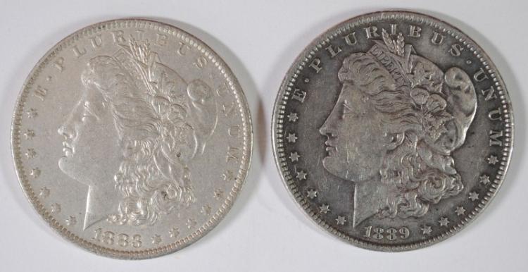 1883-O & 1889 MORGAN SILVER DOLLARS, BOTH AU