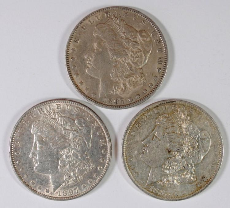 ( 3 ) AU MORGAN SILVER DOLLARS: 1883-O & 2-1897