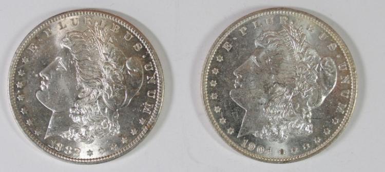 2 CH BU MORGAN DOLLARS 1882-S, & 1904-O