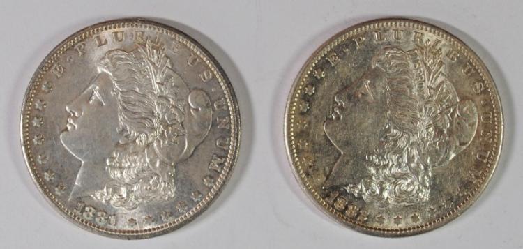 1881-S & 82-S MORGAN SILVER DOLLARS CH BU