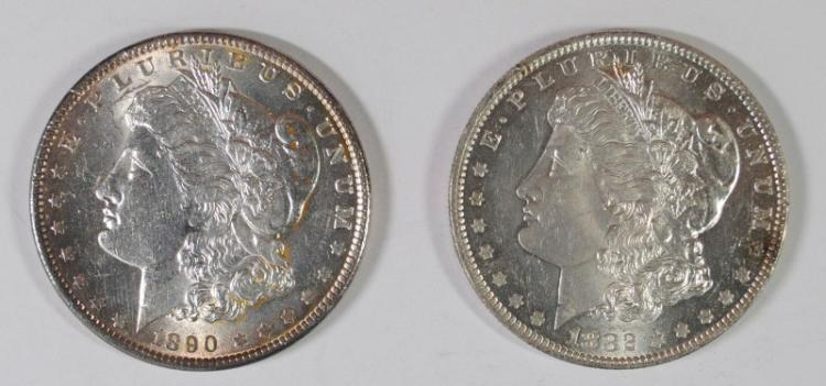 1882-O, & 1890 MORGAN DOLLARS CH BU RIM NICKS