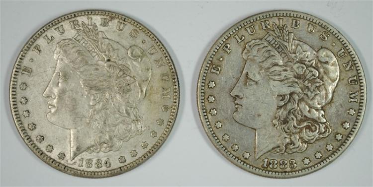 1883-S XF & 1884 AU MORGAN SILVER DOLLARS
