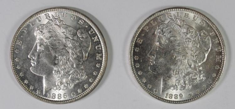 1886, & 1889 MORGAN DOLLARS BU