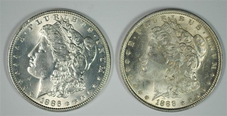 1886, & 1888 MORGAN DOLLARS CH BU