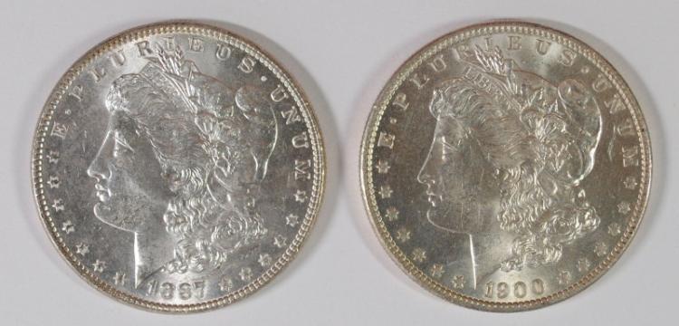 1887, & 1900-O MORGAN DOLLARS CH BU
