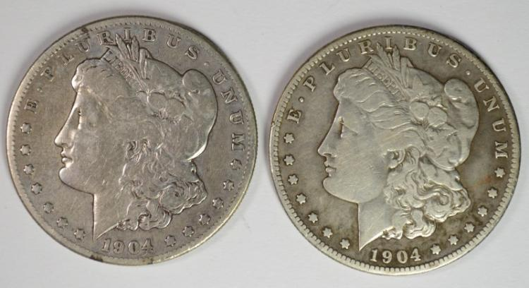 2 - 1904-S MORGAN SILVER DOLLARS VG+