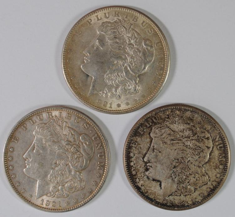 1921 P,D & S MORGAN SILVER DOLLARS - NICE AU's