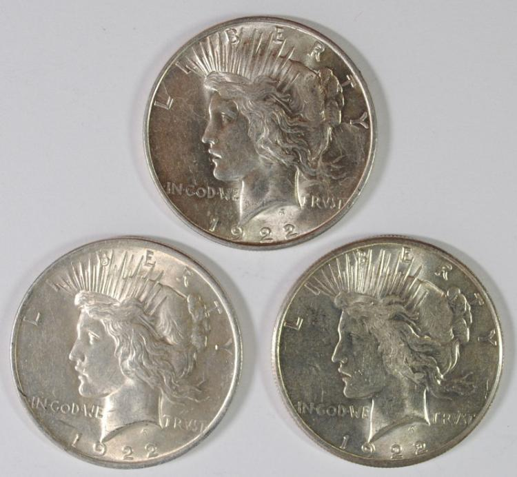 ( 2 ) 1922 & ( 1 ) 1922-S PEACE SILVER DOLLARS,  CHOICE BU