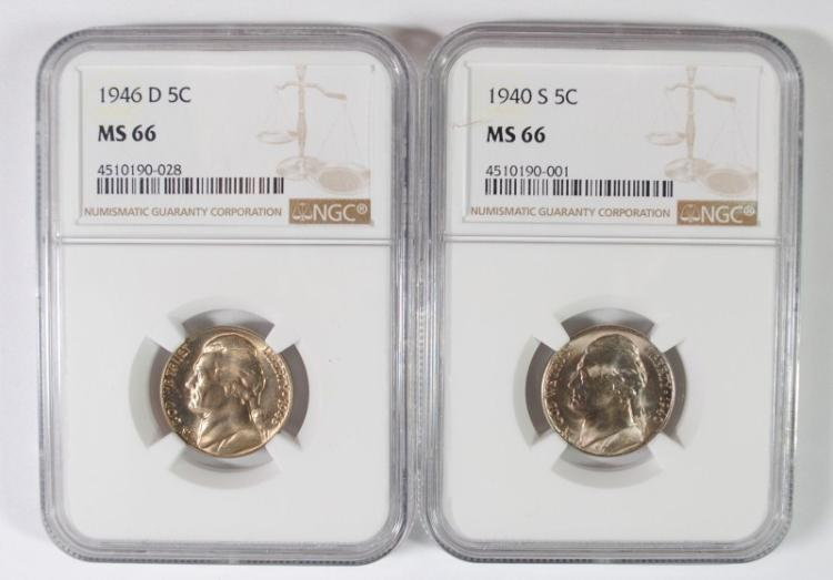1940-S & 1946-D JEFFERSON NICKELS, NGC MS-66