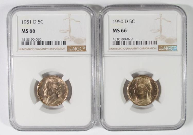 1950-D & 1951-D JEFFERSON NICKEL, NGC MS-66  BOTH KEY DATES