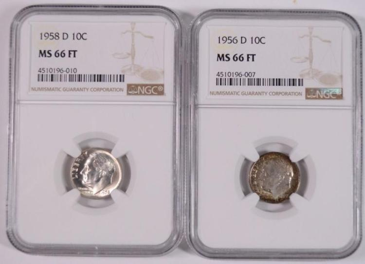 1956-D & 1958-D ROOSEVELT DIMES, NGC  MS-66 FULL TORCH
