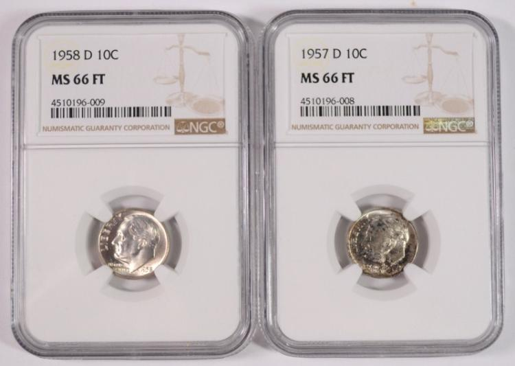 1957-D & 1958-D ROOSEVELT DIMES, NGC  MS-66 FULL TORCH
