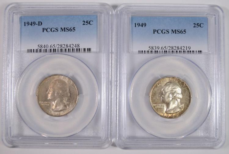 1949-P,D WASHINGTON QUARTERS PCGS MS-65